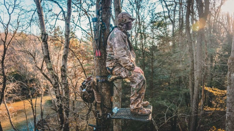 Bowhunter camouflaged in a Tree Stand